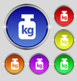 Weight icon sign Round symbol on bright colourful vector image vector image