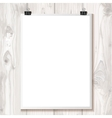 White paper hanging on binder on a background vector image vector image
