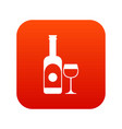 wine and glass icon digital red vector image vector image