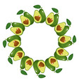 wreath from whole and half avocado heart vector image vector image