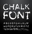 Chalk font Alphabet written in white chalk Letters vector image