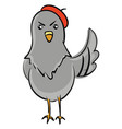 angry pigeon with red beret color on white vector image vector image