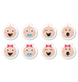 Baby boy baby girl face - crying with soother vector image vector image