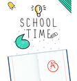 background with stationery and text school time vector image