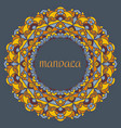 beautiful color mandala on a dark blue vector image vector image