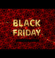 black friday sale logo with led garland on a red vector image