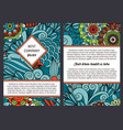 brouchure with blue floral pattern vector image