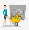 business woman depositing money in bank in safe vector image vector image