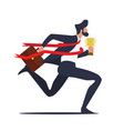 businessman running to finish line with trophy vector image