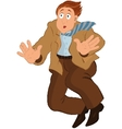 Cartoon man in brown jacket and tie falling down vector image vector image