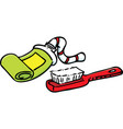 cartoon toothpaste and toothbrush vector image vector image