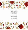 christmas bright background with golden xmas vector image vector image