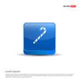 christmas candy cane icon - 3d blue button vector image
