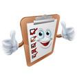 clipboard survey mascot vector image vector image