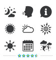 Cloud and sun icon storm symbol moon and stars