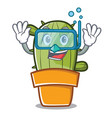 diving cute cactus character cartoon vector image vector image