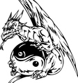 Dragon tattoo with yin-yang sign vector image vector image
