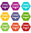 Drawing monitor icon set color hexahedron