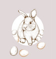 easter bunny rabbit lineart cute spring vector image vector image