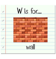Flashcard letter W is for wall vector image