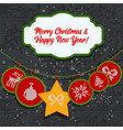 greeting knitted card for merry christmas new vector image