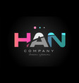 han h a n three letter logo icon design vector image vector image
