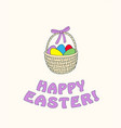 happy easter with easter eggs in the basket vector image vector image