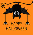 happy halloween bat spiders insect hanging cute vector image vector image