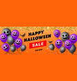 happy halloween sale banner with scary face ghost vector image