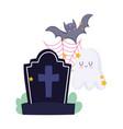 happy halloween tombstone ghost bat and cobweb vector image