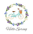 hello spring floral wreath with flowers and ladies vector image vector image