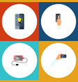icon flat phone set of brightness keep phone vector image vector image