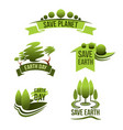 icons for save earth and nature ecology vector image vector image