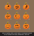 Jack O Lantern Cartoon 9 Funny n Goof Expressions vector image vector image