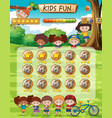 kids fun game template vector image vector image