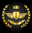 luxury award with wings luxurious symbol vector image