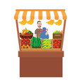man selling fruits vegetables in stall stand fresh vector image