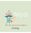 man with a pencil draws smiles vector image