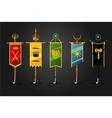 medieval cartoon flag set insignia game design vector image