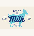 milk goat logo with goat silhouette text milk vector image