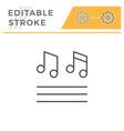 musical notes editable stroke line icon vector image