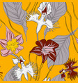 orchids with leaves floral wallpaper seamless vector image vector image