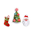 paper cut christmas tree stocking and santa claus vector image