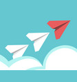 paper planes above clouds vector image vector image