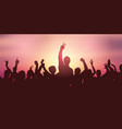 party crowd banner against sunset sky vector image vector image