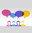 people icons and colorful speech bubbles vector image vector image