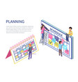 planning people man with laptop worker with pen vector image vector image