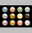 realistic varicoloured pearls set on black vector image