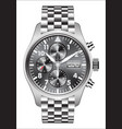 realistic watch clock chronograph stainless vector image vector image