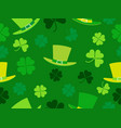 seamless pattern with hat and clover leaves st vector image vector image